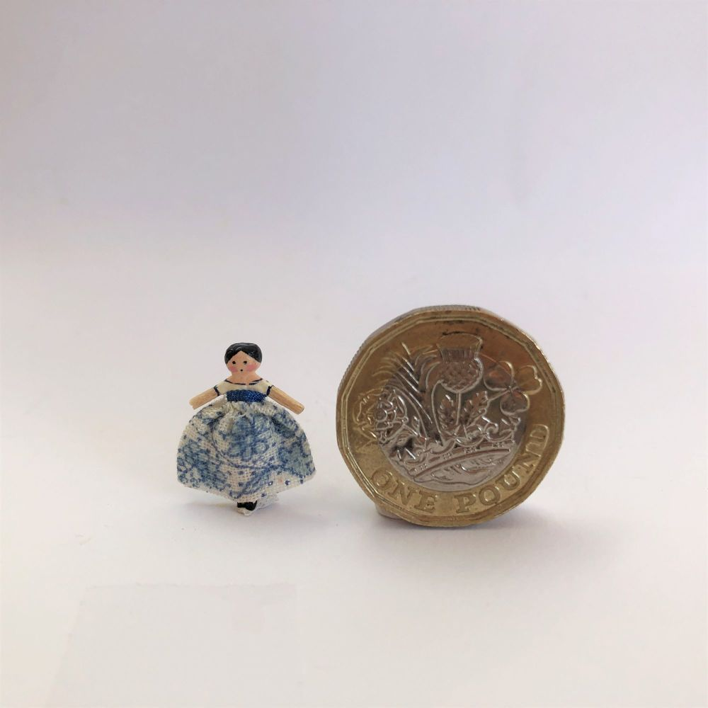 Tiny Dressed Wooden Doll - Victorian Blue