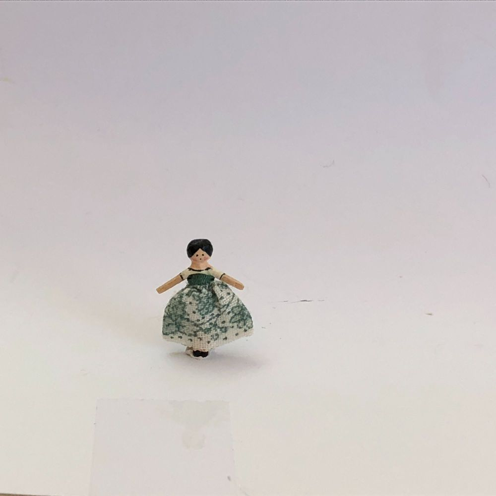 Tiny Dressed Wooden Doll - Victorian Green