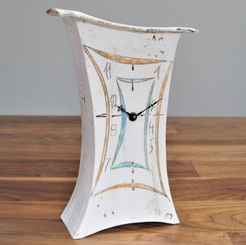 "Ceramic mantel clock - Large ""Contemporary orange & turquoise"""