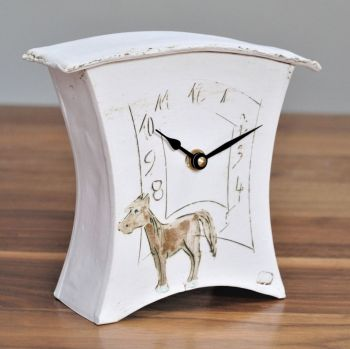 "ceramic mantel clock small ""Horse"""