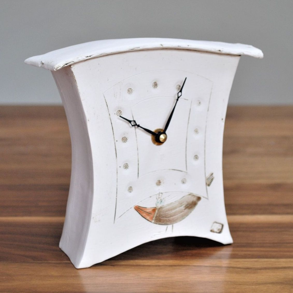 "ceramic mantel clock small ""Bird"""