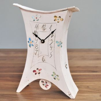 "Ceramic mantel clock - Large with pendulum ""Flower"""