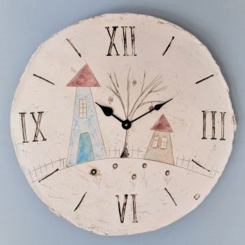 "ceramic large round wall clock ""Houses"""