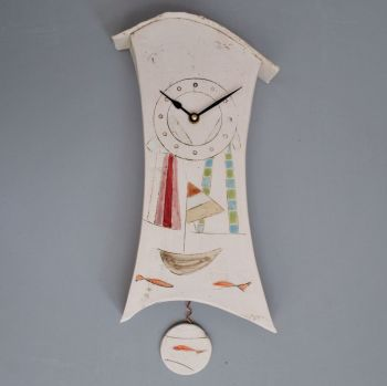 "ceramic wall clock with pendulum ""seaside"""