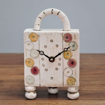 "ceramic mantel feet & handle clock  ""dots"""