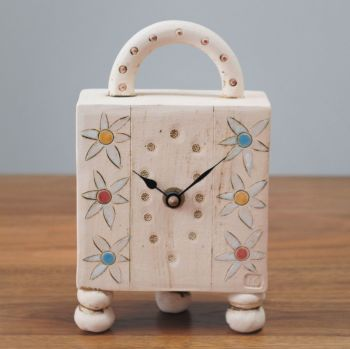 "ceramic mantel feet & handle clock  ""flowers"""