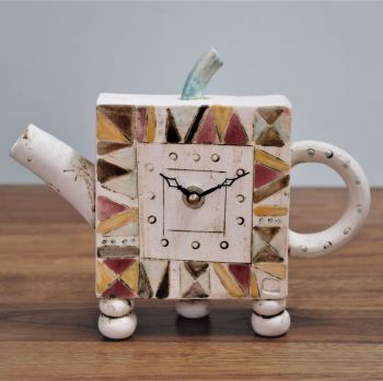 "ceramic mantel feet teapot clock  ""contemporary"""