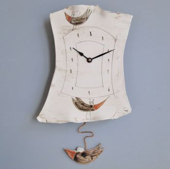 "Ceramic pendulum wall clock ""Bird"""