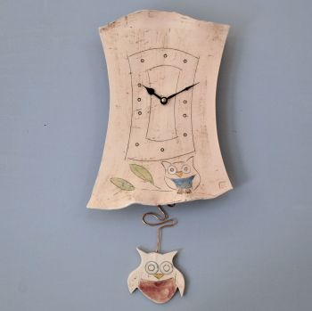 "Ceramic pendulum wall clock ""Owl"""