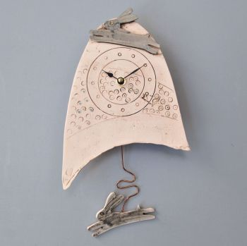 "Ceramic pendulum wall clock - Small ""Rabbit / Hare """