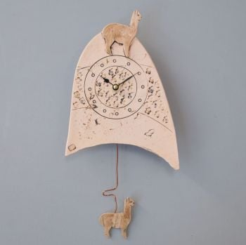 "ceramic pendulum wall clock small "" Llama / Alpaca."""
