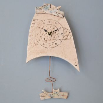 "ceramic pendulum wall clock small ""cat"""