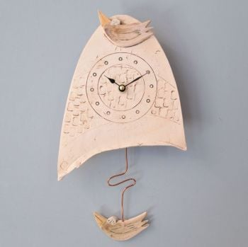 "ceramic pendulum wall clock small ""bird"""
