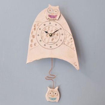 "ceramic pendulum wall clock small ""owl"""