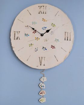 "ceramic large round wall clock with pendulum ""Flowers"""