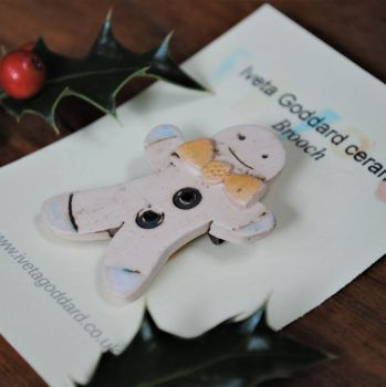 "Christmas brooch  ""Gingerbread man with yellow bow"""
