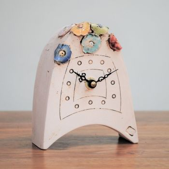 "Ceramic mantel clock  small rounded ""Flowers"""