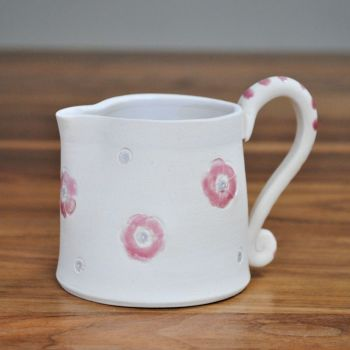 Jug with pink and purple print