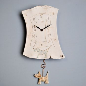 "ceramic pendulum wall clock ""Dog"""