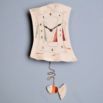 "Ceramic pendulum wall clock ""Seaside"""