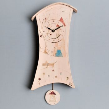 "ceramic wall clock with pendulum ""house"""