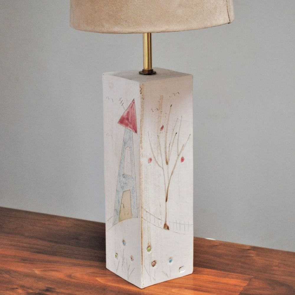 ceramic lamp base with flower pattern