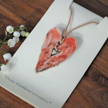 Ceramic pendant heart - Pink