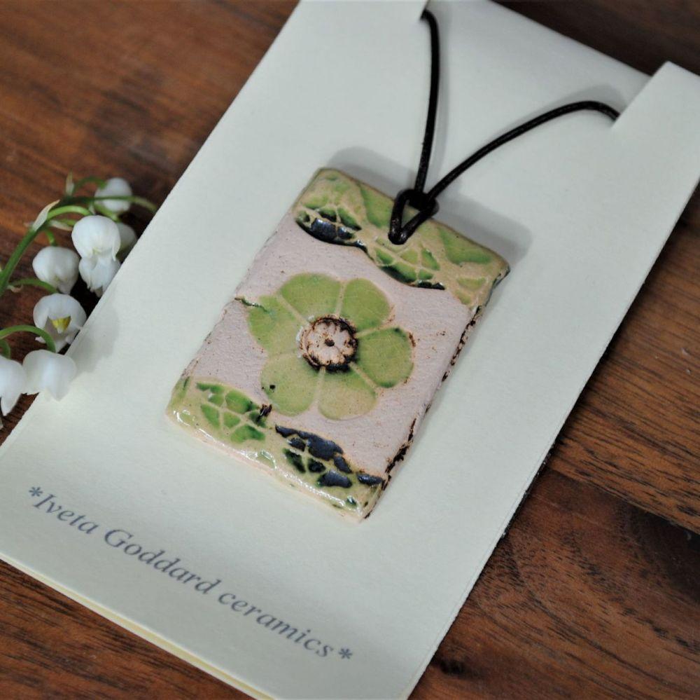 ceramic pendant - flower print - blue/green