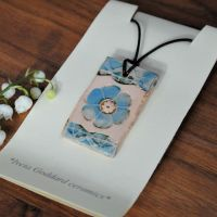 Ceramic pendant - Flower print - Sky blue