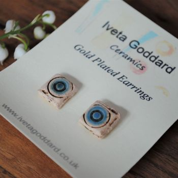pair of stud earrings - sea blue - circle
