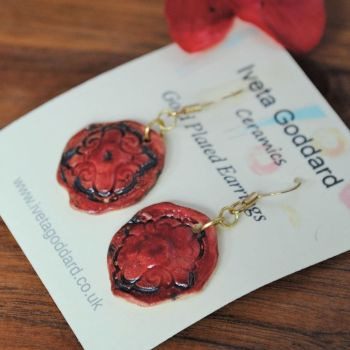 Dangle circle earrings - Red