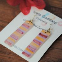 Drop rectangle earrings - Red, yellow and purple stripes.