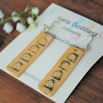 Dangle rectangle earrings - Yellow