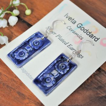 dangle rectangle earrings - dark blue