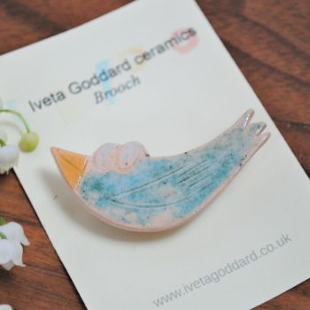 Ceramic brooch - Blue bird