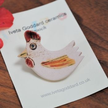 Ceramic Brooch - Hen/Cockerel/Chickin