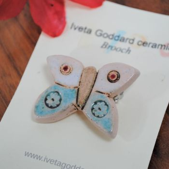 Ceramic Brooch - Butterfly Turquoise and White