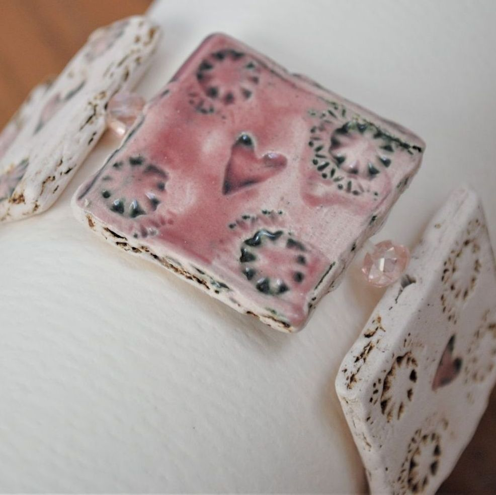 square design bracelet -  pink
