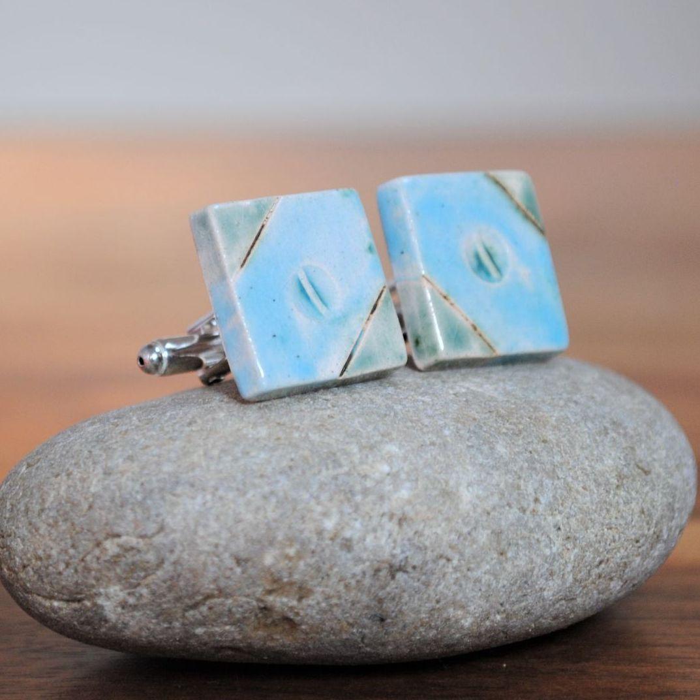 cufflinks - sky blue & green