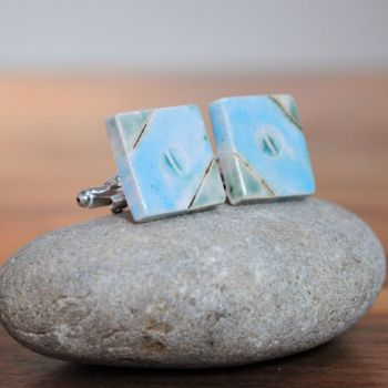 cufflinks - sky blue & green