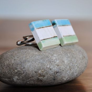 Cufflinks - Blue/green stripe