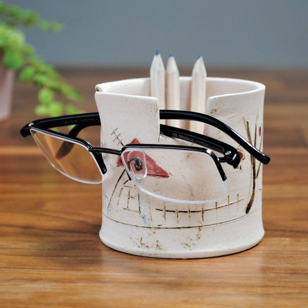 Handmade glasses & pencil holder from white clay and decorated with house a