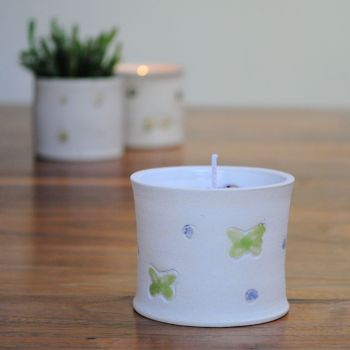 """lavender fragrance candle """"green butterfly print"""""""