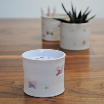 """lavender fragrance candle """"pink butterfly print"""""""