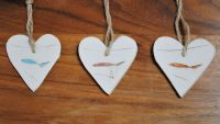 Set of 3 hanging hearts - Fish