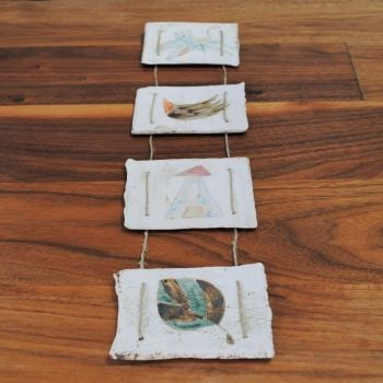 Set of 4 hanging wall tiles - house, flower, cat & bird