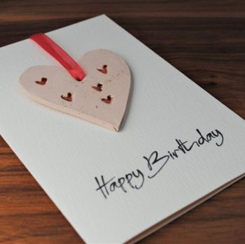 Birthday card with ceramic heart