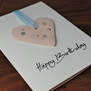 Birthday card with ceramic heart