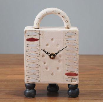 ". . . SALE . . . SALE . . . from £96 . . . ceramic mantel feet & handle clock  ""3 black feet"""