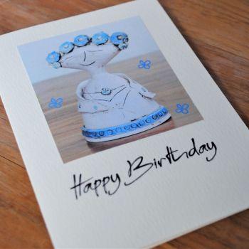 Birthday card - Lady statue & blue Flowers